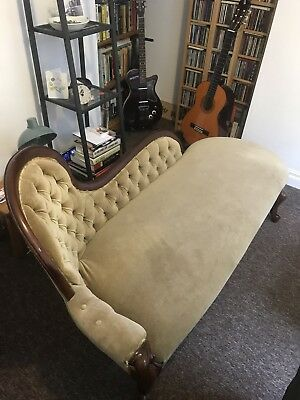 Victorian Antique Mahogany Chaise Longue Beige Draylon