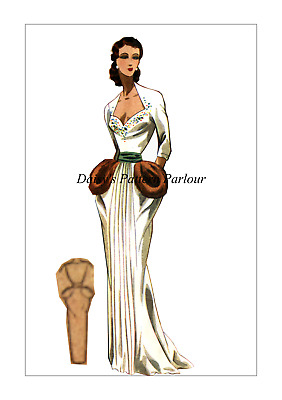 1940s Vintage Sewing Pattern Evening Sheath Gown Wedding Grecian Coupe Daisys