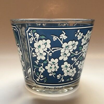 RARE Georges Briard Signed Glass Ice Bucket Blue White Apple Blossom Flowers MCM