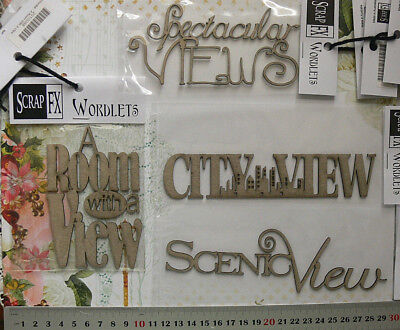 "CHIPBOARD ""VIEW"" Words CITYVIEW, SCENIC VIEW etc 4 Design Choice Scrap FX W1"