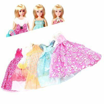 5Pcs Handmade Princess Party Gown Dresses Clothes 10 Shoes For Barbie doll CR
