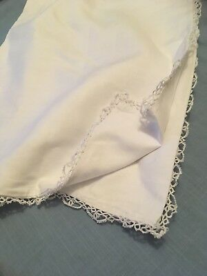 White vintage Irish linen pillowcase with a  pretty hand made lace edge