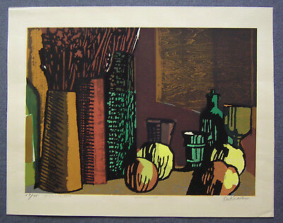 SHO KIDOKORO Large Japanese Woodblock Print STILL LIFE WITH FOUR APPLES