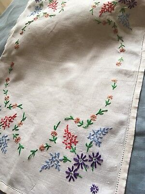 White vintage linen tray cloth  hand embroidered  with floral motifs Unused