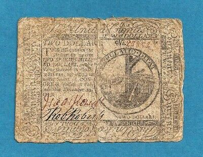 1775 Continental $ 2 Colonial Currency Solid Details Very Fine Grade