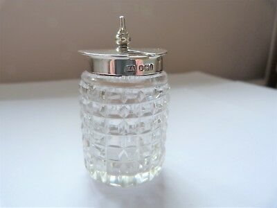 1901 - SOLID SILVER & GLASS - MUSTARD POT  - THE ATKIN BROTHERS  - 61.5 grams