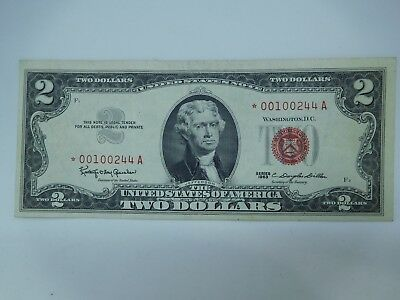 1963 US $2 Small Size United States Star Note Almost Uncirculated