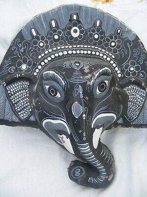 Ganesha, plaster and hessian, large old Indian wall hanging.