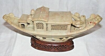 Vintage Antique Chinese Carved Soapstone Junk Boat On Plinth Unusual