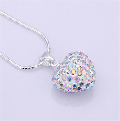Fashion Women Pendant Jewelry Crystal color Heart Silver Plated Necklace+Chain
