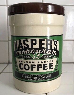 Kasper's Monogram Green Label Coffee Canister Yester Year Westwood 1995 with lid