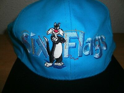 Vintage 1996 New with Tags Sylvester the Cat Six Flags Snapback Hat Looney Tune