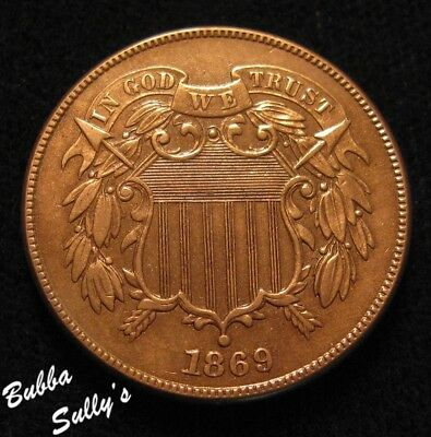 1869 Two Cent Piece <> UNCIRCULATED Details