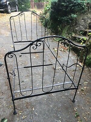 Antique Cast Iron Single Bed Frame And Wooden Base