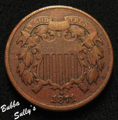 1871 Two Cent Piece <> VF Details