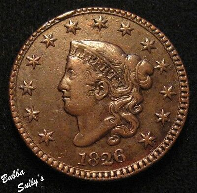 1826 Coronet Head Large Cent <> VERY FINE