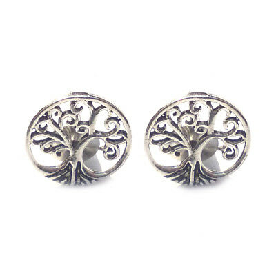 Silver Oxidized Plated Antique Round Filigree Stud Earrings