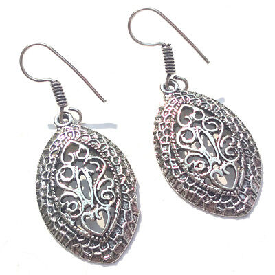 Beautiful Silver Oxidized Plated Antique Fancy Marqees shape filigree Earrings