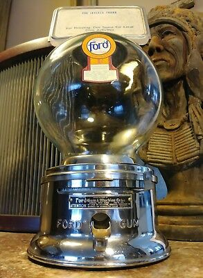 Vintage Ford 1cent Gumball Machine SN C024646 Akron New York Glass Beauty