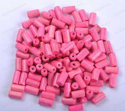 FREE SHIP 50PCS pink Bright Color Wooden tubular Wood Beads 12X6MM