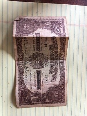 Government Of Tonga 4 Shillings 1941 Treasury Note - Very Scarce - Problem-Free