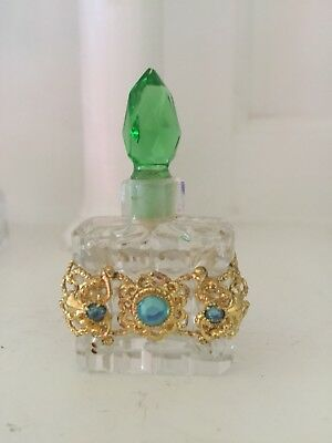 Vintage Small Czech Czechoslavakian Jeweled Perfume Bottle