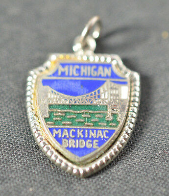 Vintage Michigan State Sterling Silver and Enamel Charm   .925