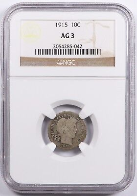 1915 Barber Dime Silver 10C NGC AG3