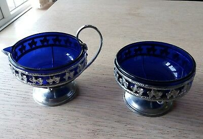 vintage blue glass and metal milk and sugar bowl