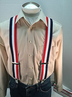 """New, Men's, Red, White, & Blue, XL, 2"""", Adj.  Suspenders / Braces, Made in USA"""