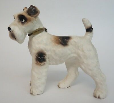 VINTAGE FOX TERRIER DOG FIGURINE w/ METAL CHAIN COLLAR MATTE CERAMIC JAPAN