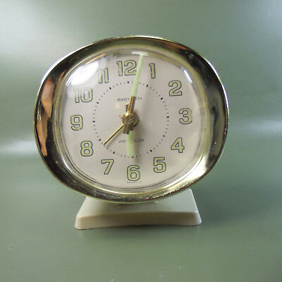 Rare Vintage Westclox Baby Ben Alarm Clock, white dial, gold trim, Made in USA