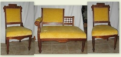 3 Piece Antique Victorian Eastlake Walnut Parlor Set - Lady's Settee, 2 Chairs