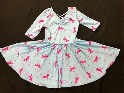 NEW dot Dot smile Ballerina Twirl Pink Blue Unicorn dress Girls