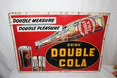 "Rare Vintage 1940's Double Cola Soda Pop Gas Station 28"" Embossed Metal Sign"