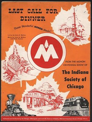 Last Call For Dinner 1947 Monon Centennial Show Ind soc of Chicago Sheet Music