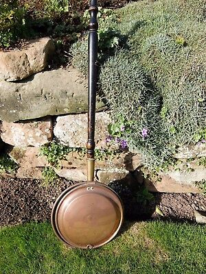 Large Vintage Retro Antique Copper & Brass Bed Warmer Warming Pan Country Style