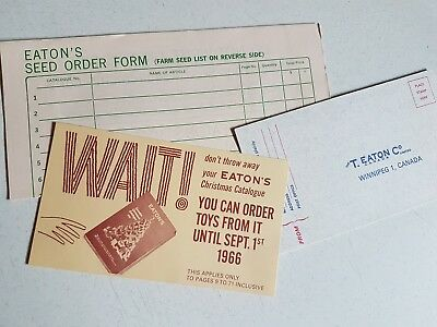 Vintage Lot of Eaton's Canada 1960s Envelope Flyer and order Form Catalog Pieces