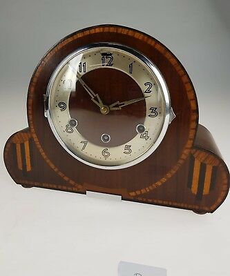 Art Deco Napoleon Hat Westminster Chime Mantle Clock Walnut and Ebony