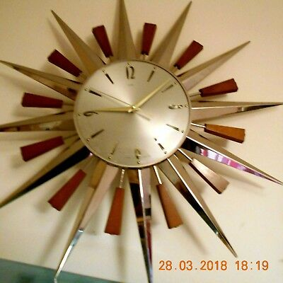 "One Brass  Metamec Sunburst Wall Clock  ""ray Part Only"" Starburst Star Vintage"