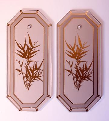 2x Vintage Art Deco Smoked Glass Bamboo Door Finger Push Plates -10 available!