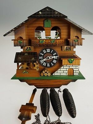 German cuckoo clock Triple weight Automaton, Water wheels, Dancing