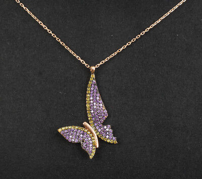 Butterfly Amethyst Rose Gold Colored Over Sterling Silver Necklace #21197