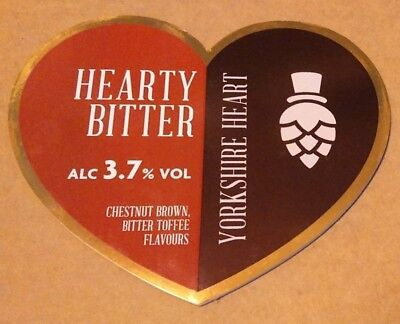 YORKSHIRE HEART brewery HEARTY BITTER cask ale beer pump clip badge front York