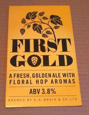 BRAINS brewery FIRST GOLD ale cask beer pump clip badge front pumpclip Cardiff