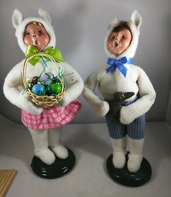 """Signed Byer's Choice Easter Bunny Carolers Set Pair Boy Girl 2013 10"""" child"""