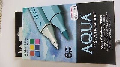 Craft Markers And Pens - Aqua By Spectrum Noir-6Pc