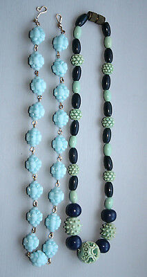 A Pair Of Vintage Art Deco Carved Bead Necklaces celluloid lucite bakelite