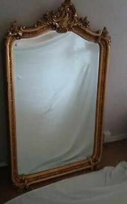 VINTAGE FRENCH MIRROR CRESTED GILT ORNATE EXTRA LARGE  3.5ft x 2.5 + ft.approx