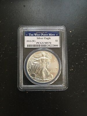 PCGS MS70 2013 (W) American Silver Eagle First Strike Struck At West Point